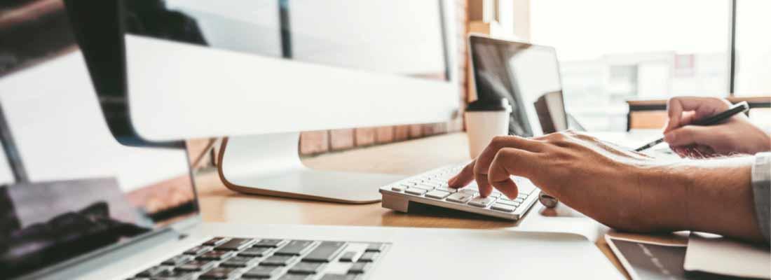 keyboard, laptop and monitor